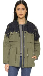 Sea Embroidred Flowers Military Jacket Navy Army