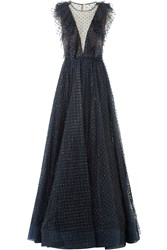 Jenny Packham Floor Length Gown With Sequinned Tulle Blue