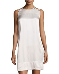 L.A.M.B. Sateen Lace Up Shoulder Dress Oyster