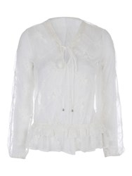 Jane Norman Ivory Emroidered Peplum Blouse Top