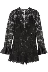 Alexis Yumi Embroidered Tulle Playsuit Black