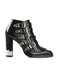 Toga Pulla Fringed Ankle Boots Black