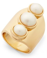 Thalia Sodi Gold Tone Triple Imitation Pearl Statement Ring Only At Macy's White