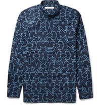 Givenchy Cuban Fit Printed Cotton Shirt Blue