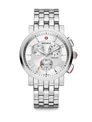 Michele Sport Sail Stainless Steel Large Chronograph Bracelet Watch Silver