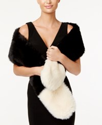 Inc International Concepts Colorblocked Faux Fur Scarf Only At Macy's Black