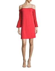 Ella Moss Lace Accented Cold Shoulder Shift Dress Tango Red
