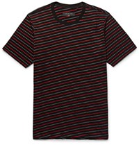 Rag And Bone Colin Striped Cotton Blend Jacquard T Shirt Black