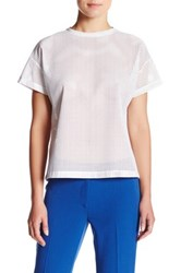 Anne Klein Faux Leather Tee Blouse White