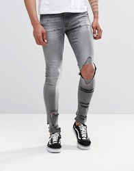 Asos Extreme Super Skinny Jeans With Mega Rips In Grey Grey