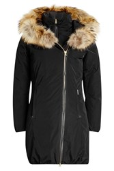 Woolrich Layered Down Coat With Fur Trimmed Hood Black
