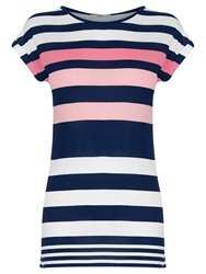Oasis Candy Stripe T Shirt Multi Pink