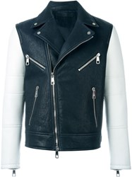 Neil Barrett Colour Block Biker Jacket Blue