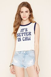 Forever 21 Better In Cali Graphic Crop Top