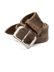 Orciani Engraved Leather Belt Taupe