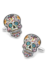 Cufflinks Inc. 'Day Of The Dead' Cuff Links Silver Black Pink