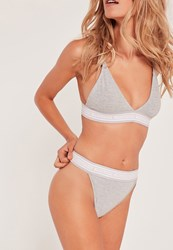 Missguided Contrast Elastic Triangle Thong Grey Grey