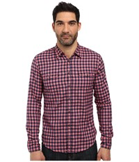 Boss Orange Edoslime Small Buffalo Plaid Shirt Red Men's Long Sleeve Button Up Burgundy