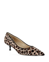 Hobbs London Carrie Leopard Calf Hair Kitten Heel Pumps Mini Leopard
