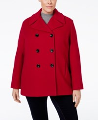 Calvin Klein Plus Size Wool Cashmere Double Breasted Peacoat Crimson