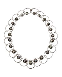Assael 18K White Gold And Tahitian Pearl Linked Choker Necklace Women's