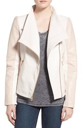 Women's Guess Asymmetrical Zip Faux Leather Jacket Baby Pink White