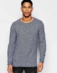 Solid Knitted Waffle Jumper Blue
