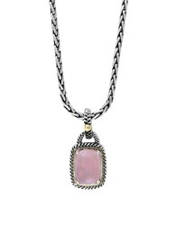 Effy Rose Quartz Sterling Silver And 18K Yellow Gold Pendant Necklace Pink