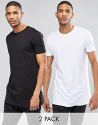 Asos 2 Pack Super Longline T Shirt With Crew Neck Save 15 In Black White Black White Multi