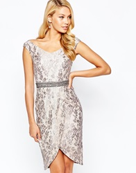 Little Mistress Bardot Pencil Dress In Metallic Lace With Wrap Skirt And Embellished Waist Detail Metallicmink