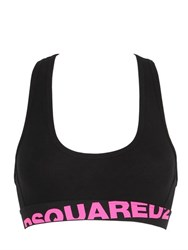 Dsquared Logo Cotton Jersey Sports Bra