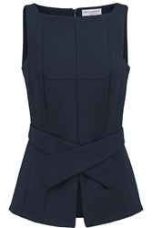 Amanda Wakeley Belted Stretch Crepe Top Blue