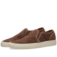 Buttero Woven Suede Slip On Sneaker Brown