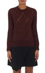 Isabel Marant Women's Iggy Open Work Diamond Pattern Sweater Burgundy