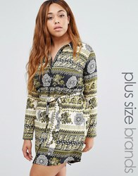 Ax Paris Plus Shirt Dress In Scarf Print Khaki Print Multi