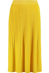 Vionnet Pleated Stretch Knit Midi Skirt Yellow