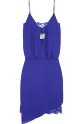 Mason By Michelle Mason Asymmetric Lace Paneled Silk Georgette Dress Royal Blue