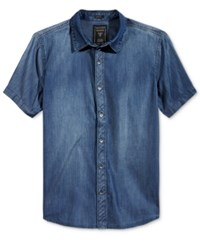 Guess Men's Short Sleeve Slim Fit Chambray Shirt Receptive Blue Wash