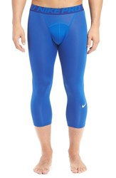 Nike Men's 'Pro Cool Compression' Four Way Stretch Dri Fit Three Quarter Tights Game Royal Deep Royal Blue