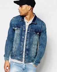 Asos Jersey Western Jacket In Blue Blue