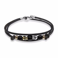 Platadepalo Leather Skull Bracelet With Silver And Bronze