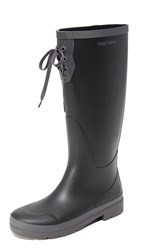 Tretorn Lacey Tall Rain Boots Black Dark Grey