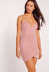 Missguided Petite Exclusive Faux Suede Mini Dress Pink Mauve