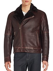 Salvatore Ferragamo Fur Trimmed Leather Jacket Burgundy