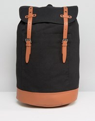 Asos Backpack In Canvas With Brown Long Straps Black
