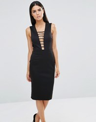Club L Midi Dress With Strap Detail And Cut Out Back Black