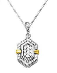 Lord And Taylor Diamond Pendant In Sterling Silver With 14K Yellow Gold