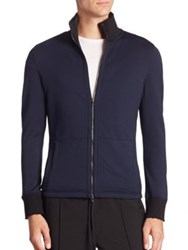 Efm Stand Collar Zipper Sweatshirt Blue