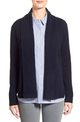 Women's Nordstrom Collection Cashmere Shawl Collar Cardigan Black Navy Marl