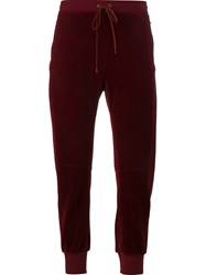 Chloe Velour Track Pants Red
